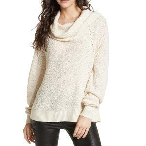 Free People Cowl Neck Knit Oversized Sweater Cream